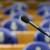 DEN HAAG - Microfoon in de grote vergaderzaal in het gebouw van de Tweede Kamer. ANP PHOTO XTRA KOEN SUYK