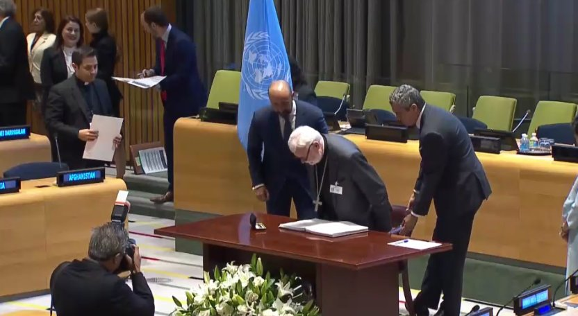 The Holy See (Vatican) makes history as the first state to ratify the UN Treaty on the Prohibition of Nuclear Weapons
