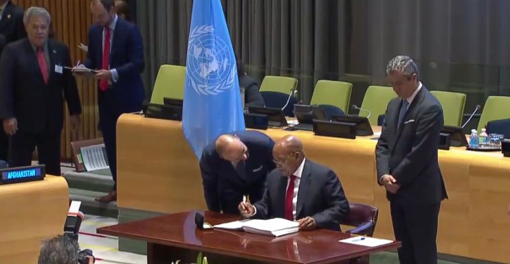 South Africa signs the treaty