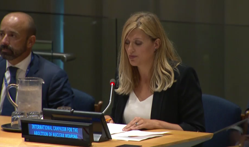 Beatrice Fihn speaks on behalf of civil society at the signing ceremony